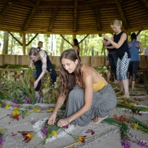 Mandala making at the Fire Temple during our retreat last we...